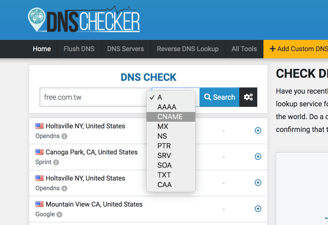 DNS Checker官网 随机从全球各节点查询DNS服务器更新纪录